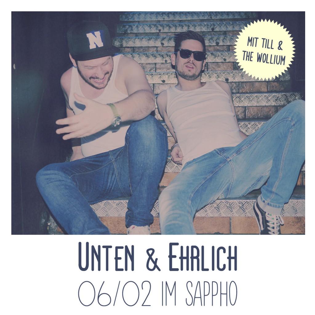 Sappho Paderborn / Unten und Ehrlich Partyflyer